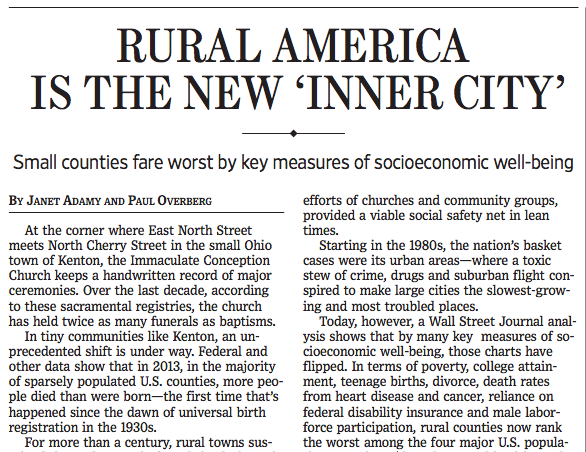 """Wall Street Journal Looks at Rural America, """"The New ..."""