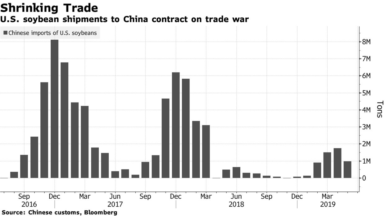 Sluggish Soybean Sales to China in First Half of 2019, as Trade